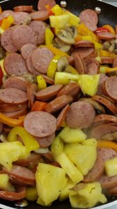 sausage stir-fry with pineapple and peppers